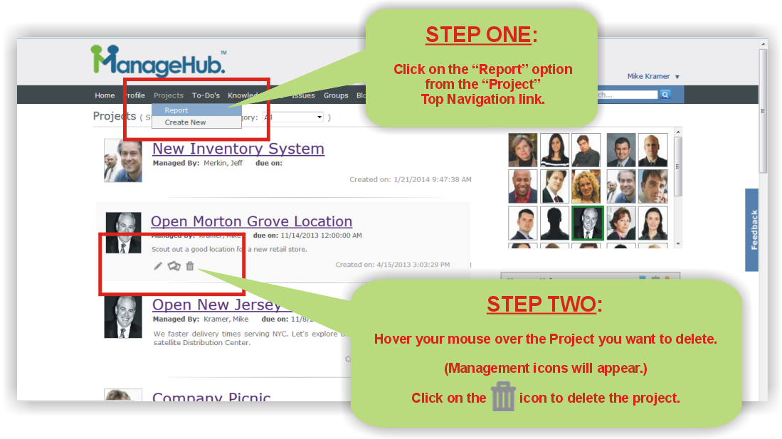 How to delete a project