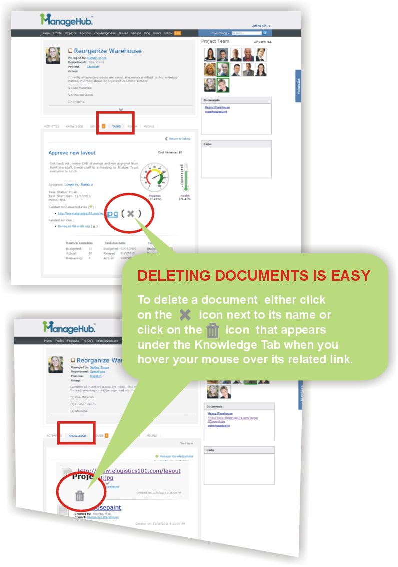 how to delete documents